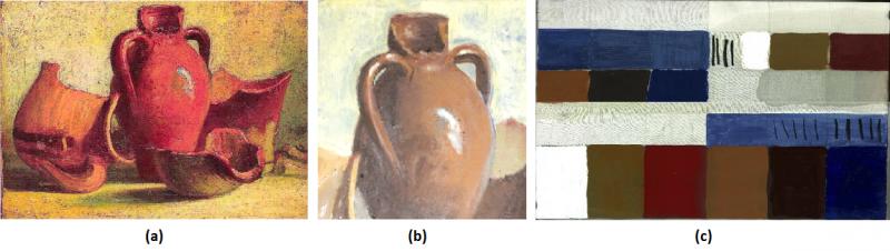 (a) Bodegón original. (b) Reproducción realizada para los tests y pruebas de validación. (c) Muestras de distintos pigmentos encontrados en el cuadro para su análisis por medio del escáner de terahercios. Imagen: Insidde