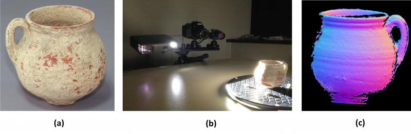 (a) Vasija del siglo III. (b) Configuración de adquisición de modelos 3D mediante escáner de luz estructurada. (c) Modelo tridimensional obtenido a partir de medidas antes del procesado. Foto: Insidde