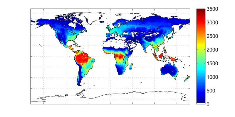 Eliminación anual de dióxido de carbono realizada por la vegetación.