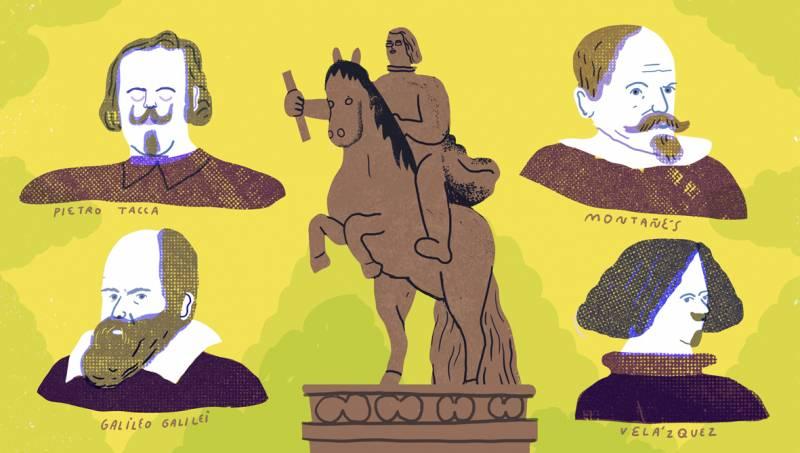 estatua de Felipe IV con los cuatro genios alrededor