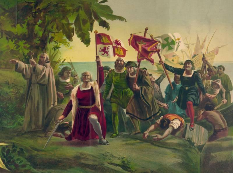 Llegada de Cristobal Colón a América en su primer viaje en una representación del pintor Díscolo Puebla. Imagen: Wikipedia