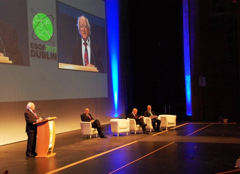 El presidente de Irlanda Michael D. Higgins en el acto de inauguración de ESOF 2012 en la ciudad de Dublín. Imagen: SINC