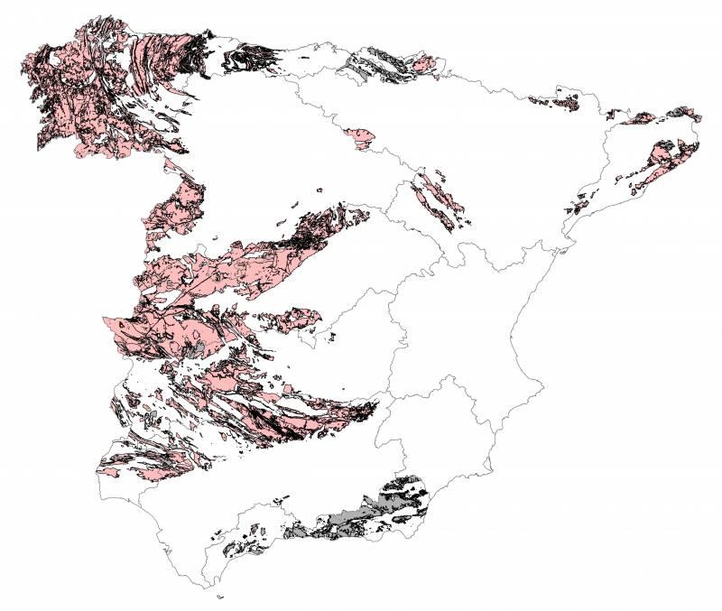 En las zonas rosas, el 10% de los edificios presenta concentraciones de radón superiores a 300 Bq/m3. Las grises están pendientes de clasificación. / UNED-CSN.