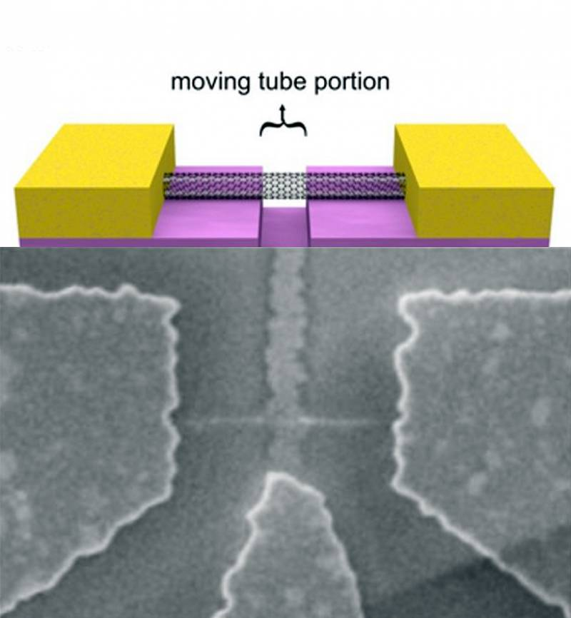 Esquema e imagen microscópica del sensor.