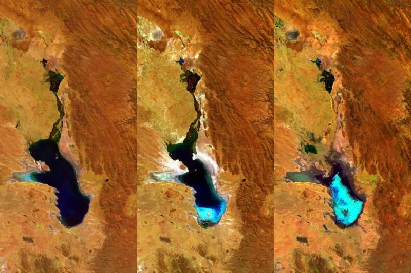 La evaporación del lago Poopó capturada por el satélite Proba-V en tres imágenes tomadas los días 27 de abril de 2014, 20 de julio de 2015 y 22 de enero de 2016./ ESA/Belspo