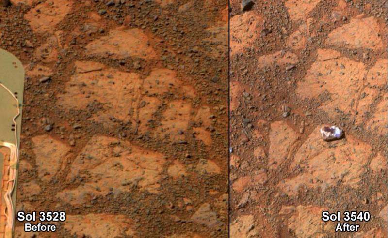 Composición de las fotografías de la misteriosa roca en Marte. / NASA