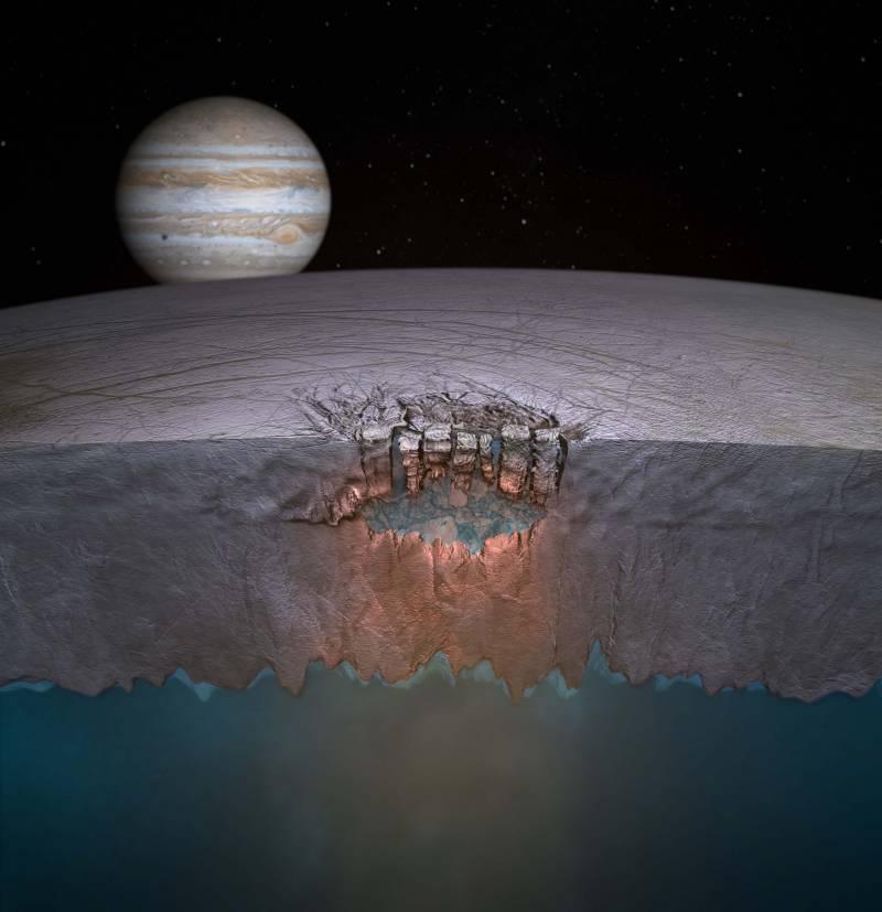 Representación del 'Gran lago' bajo la supeficie de Europa, luna de Júpiter