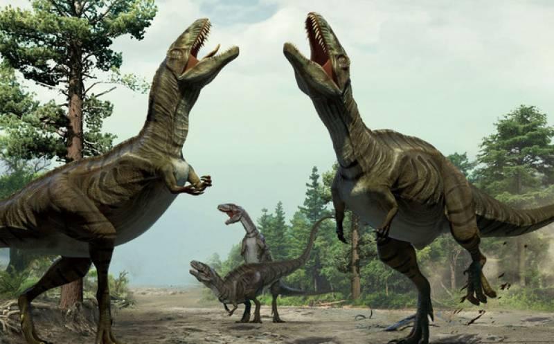 Reconstrucción de dinosaurios durante su actividad de exhibición sexual. / Ilustración de Lida Xing y Yujiang Han