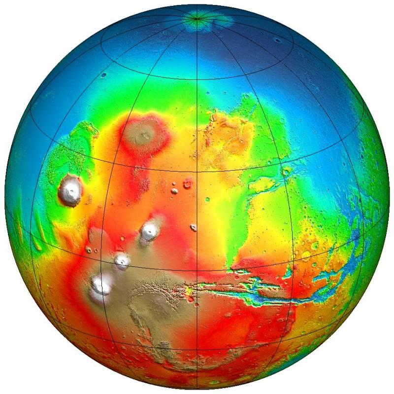Mapa topográfico de  Marte