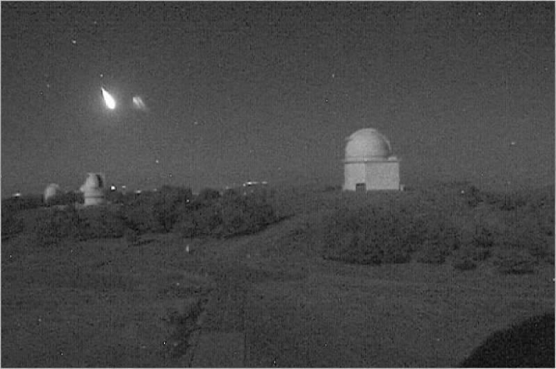 Bólido detectado el 3 de septiembre de 2014 con las cámaras de vigilancia externa del Observatorio de Calar Alto. / CAHA