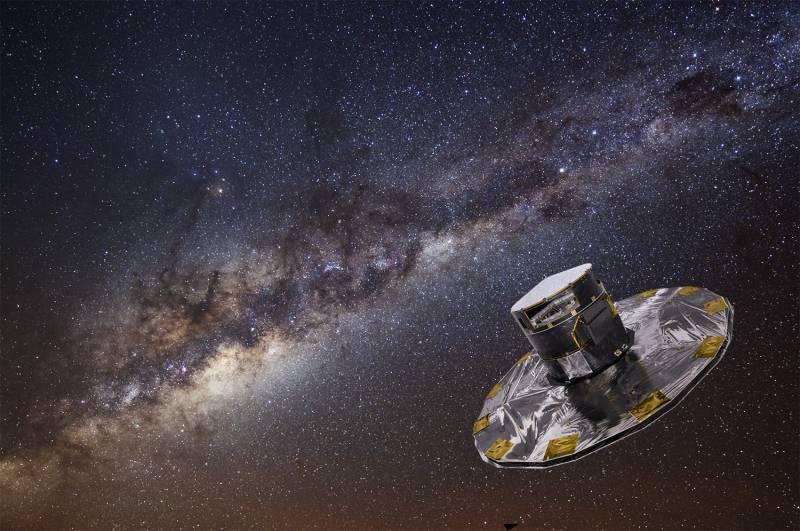 Ilustración del satélite con la Vía Láctea al fondo / SA/ATG medialab / ESO/S. Brunier.