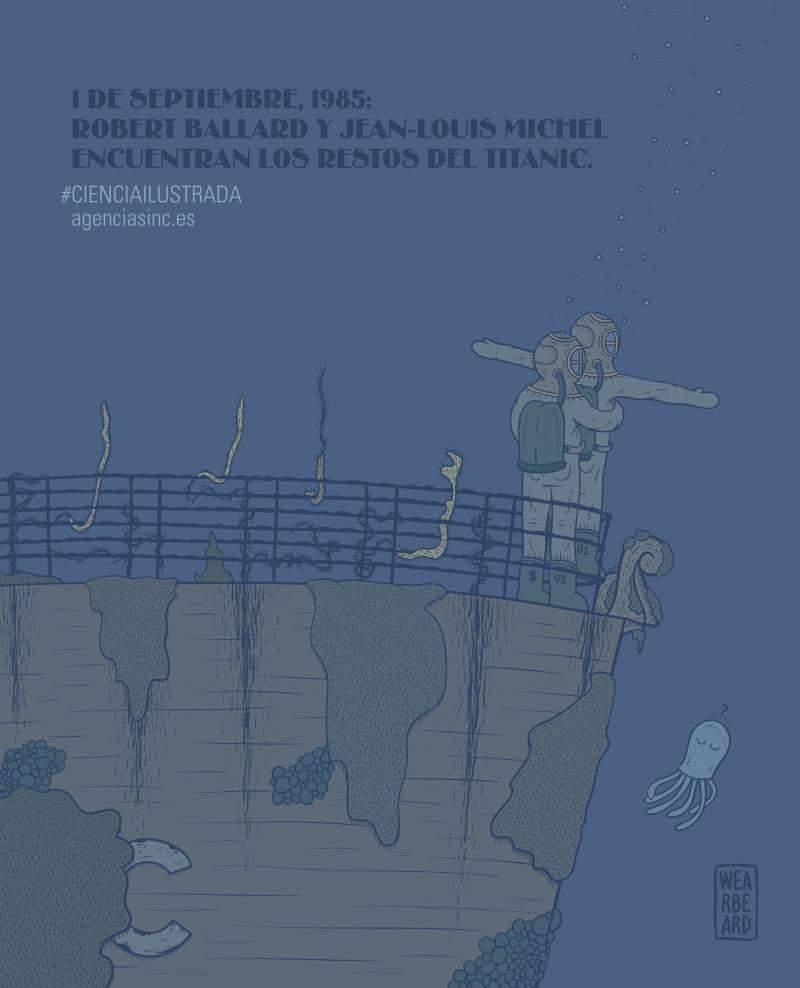 El 1 de septiembre de 1985 los oceanógrafos Robert Ballard y Jean-Louis Michel hallaban el pecio del Titanic. / Sinc