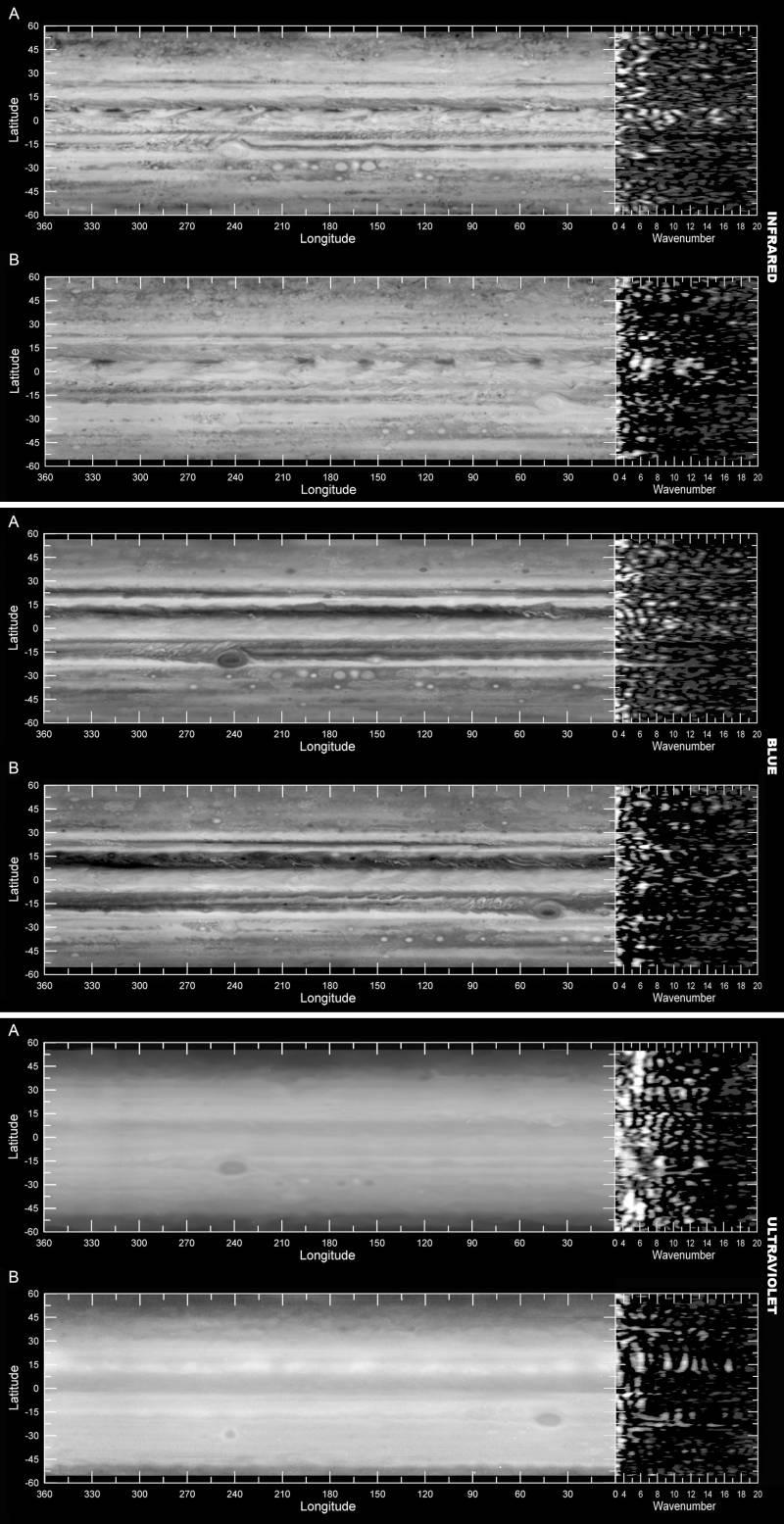 Analizan los brillos de las nubes de Júpiter