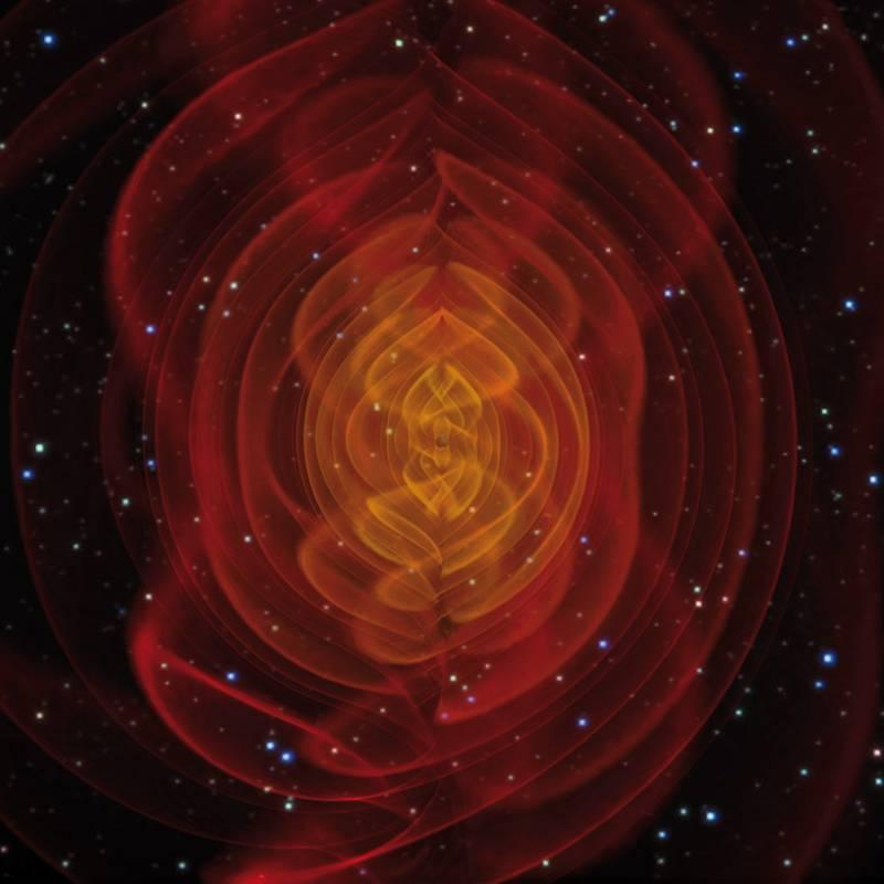 Simulación de ondas gravitacionales producidas por agujeros negros.