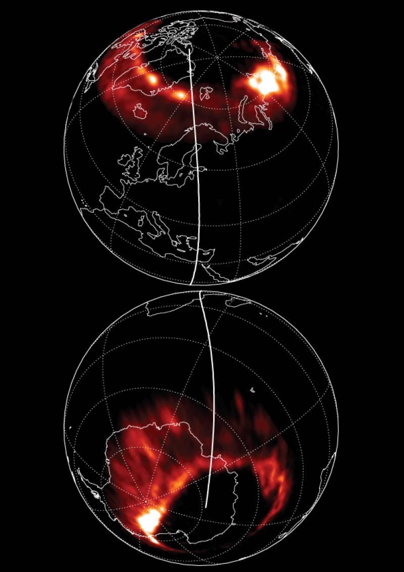 Las auroras de los hemisferios Norte y Sur no son idénticas