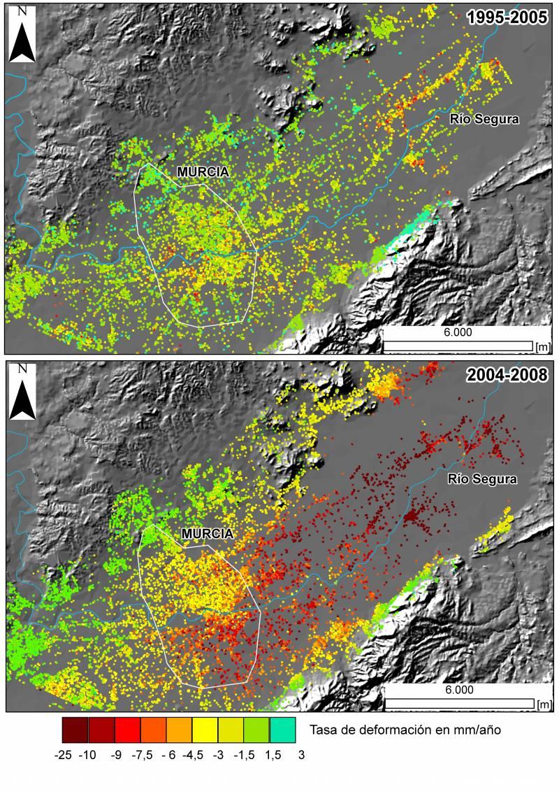 Tasa de deformación del Terreno en el área metropolitana de Murcia