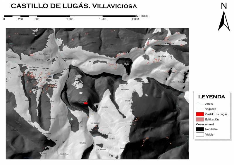 Areas controladas visualmente desde el Castillo de Lugás
