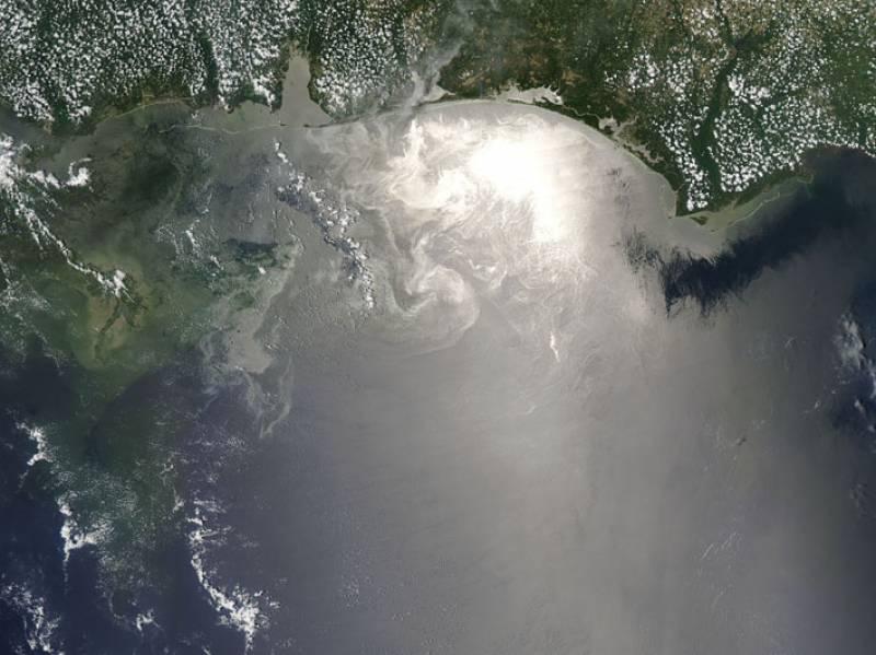 Imagen del satélite MODIS de la NASA del vertido
