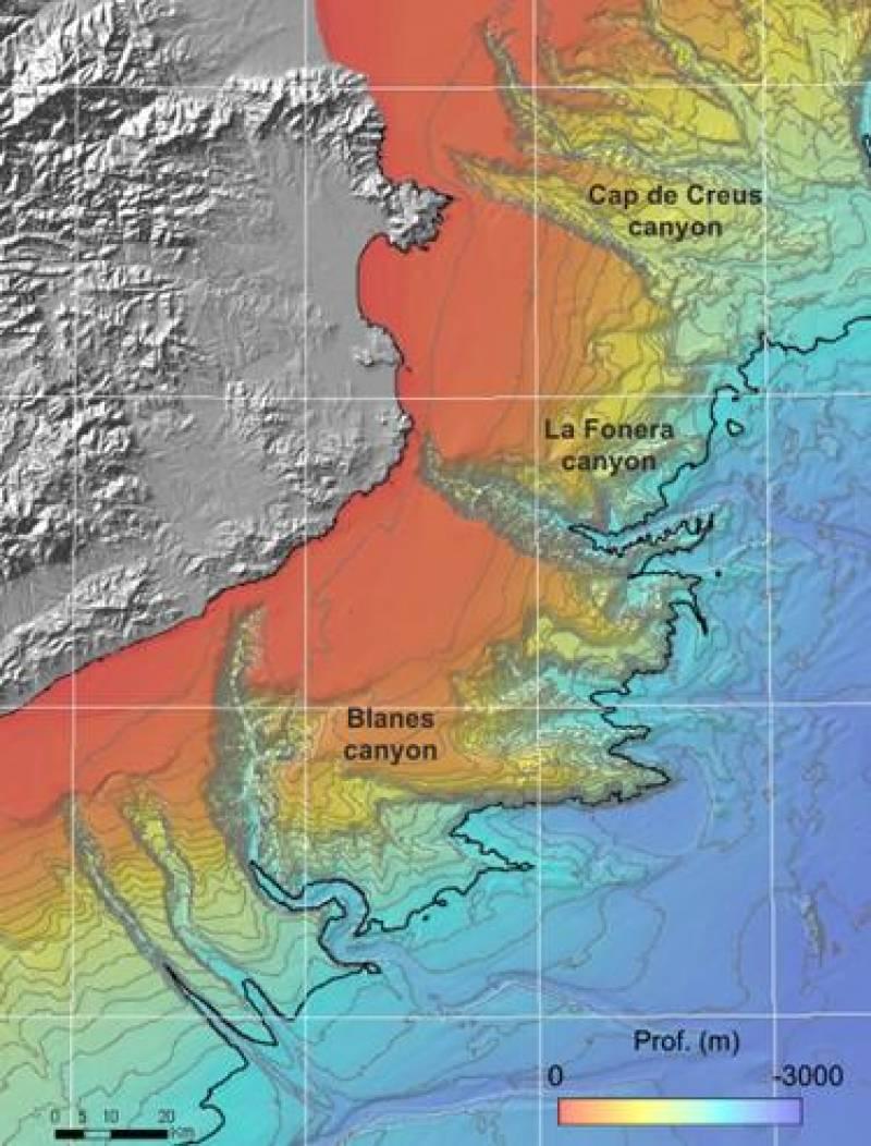 Mapa batimétrico de las zonas que se estudiarán durante la campaña Promares-Oasis del Mar.