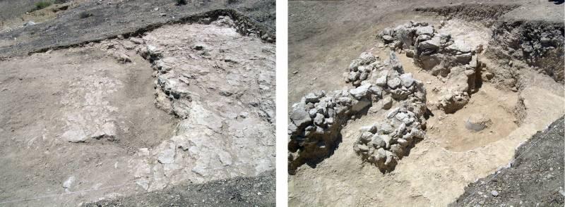 Corte al inicio y durante el desarrollo de la excavación, con los restos constructivos de una de las tumbas abiertas en la ladera