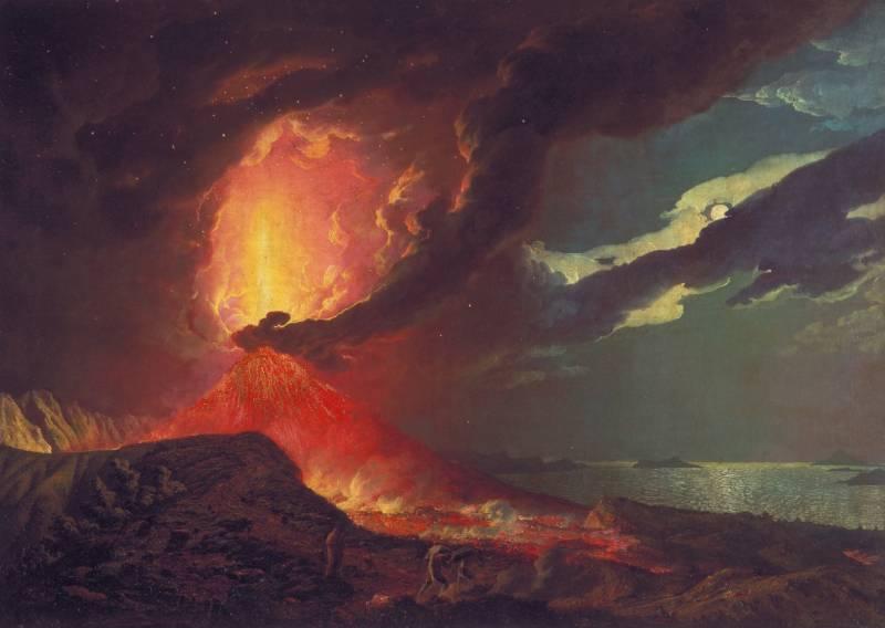 Vesubio en erupción, obra del pintor británico Joseph Wirght de Derby.