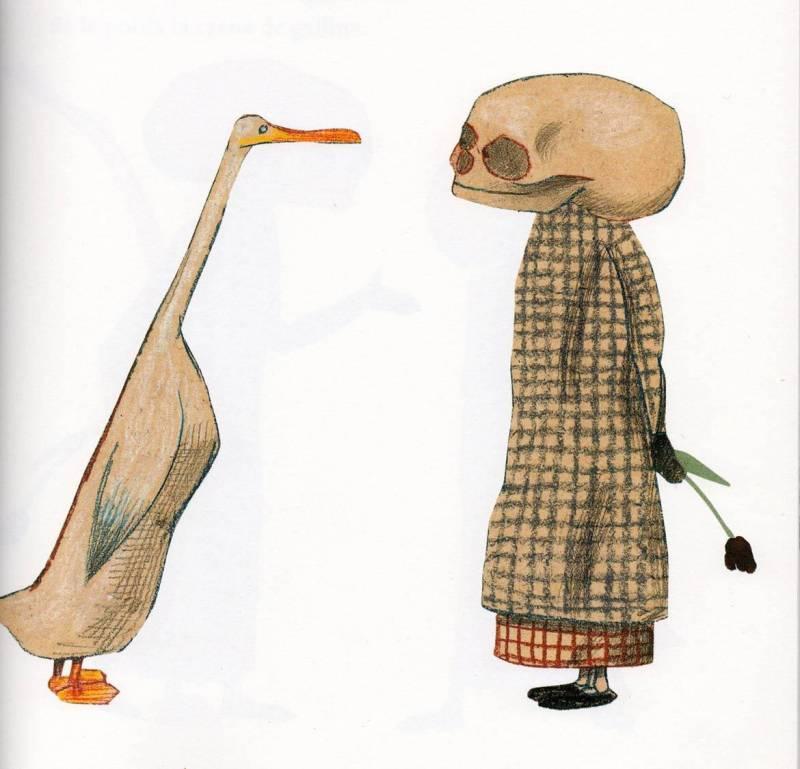 Ilustración del álbum 'El pato y la muerte'. (Wolf Erlbruch).
