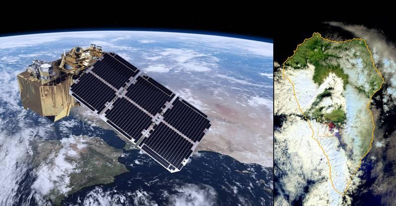 Ilustración de Sentinel-2 e imagen real del volcán de La Palma captada por el satélite