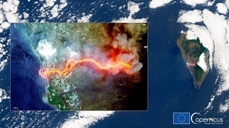 El satélite Sentinel-2 capta el río de lava desde el espacio.