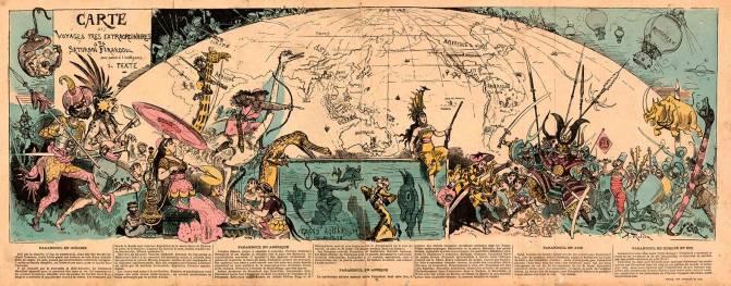 Albert Robida. Carte des Voyages très Extraordinaires, Paris 1879.