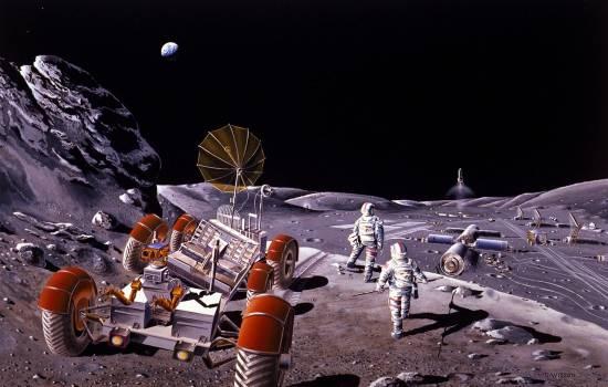 Concepto artístico de una colonia lunar / NASA