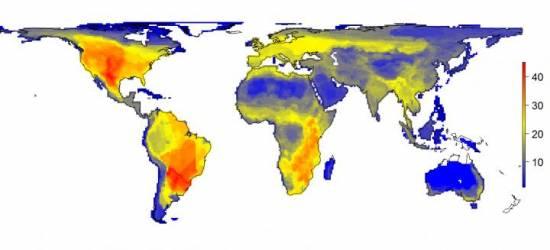 Mapa de la variación en el número de grandes mamíferos (45 kg o más grandes) que se habría producido en una escala de 100 x 100 kilómetros. Los números de la escala indican las especies. / Soren Faurby