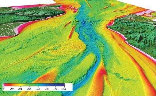 Vista 3-D en perspectiva de batimetría del estrecho de Dover / Imperial College de Londres