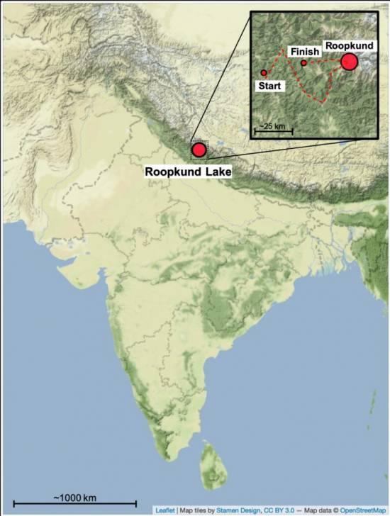Mapa que muestra la ubicación del lago Roopkund en el Himalaya / Harney et al.