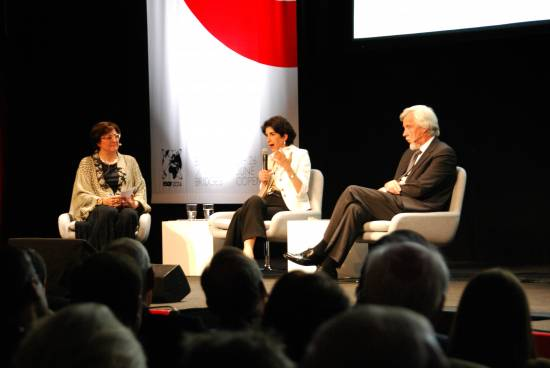 Heuer, Gianotti y Leglu en ESOF 2014. / Sinc