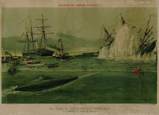 Póster conmemorativo del lanzamiento torpedos del submarino Peral. Colección Privada Diego Quevedo.