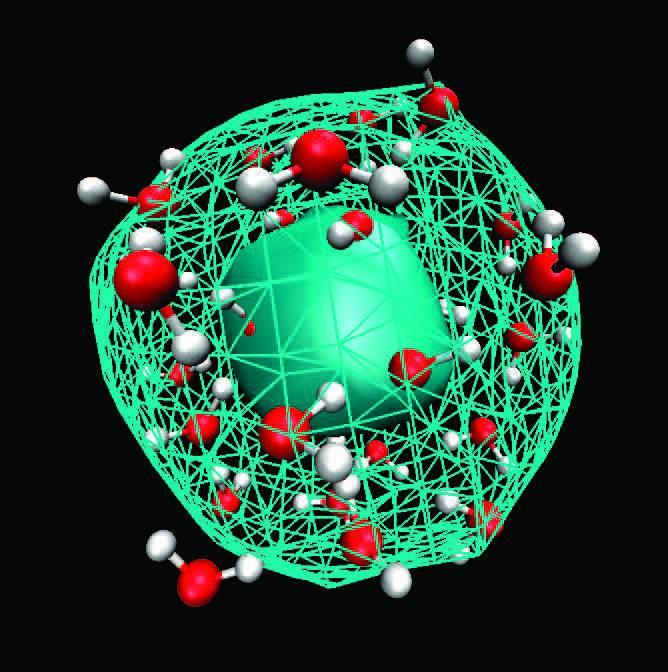 Moléculas de agua en la masa del electrón.