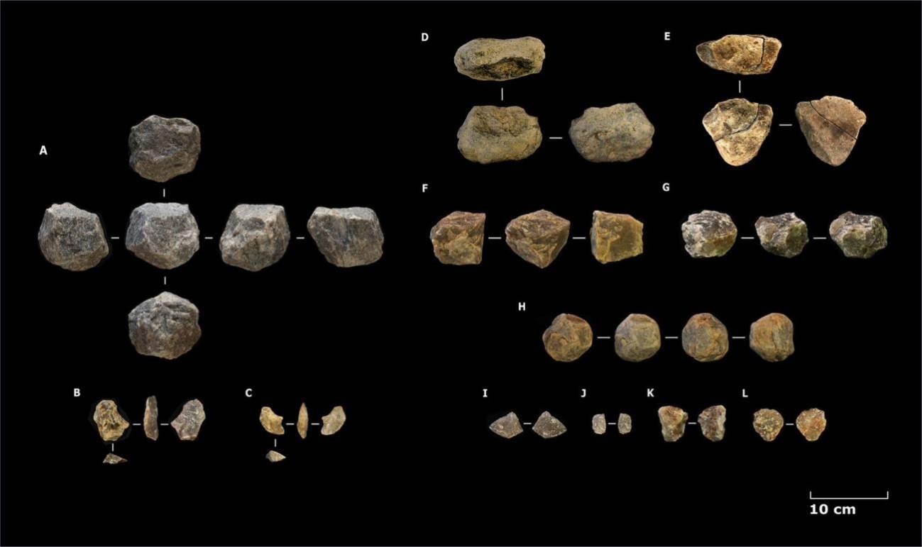 Selección del conjunto lítico recuperado en las distintas trincheras de Ewass Oldupa. / Mercader et al.