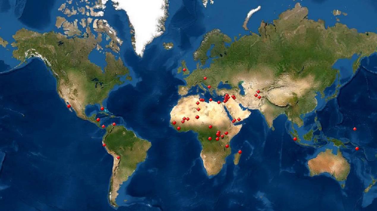 Mapa de la Lista de Patrimonio de la Humanidad en Peligro. / UNESCO