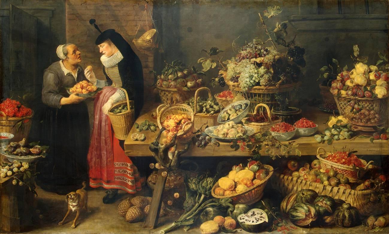 Frans Snyders   Fruit Stall   WGA21518 - Para complementar estudios genómicos de plantas que nos dan de comer, un biólogo y un historiador  plantean fijarse en las pinturas artísticas