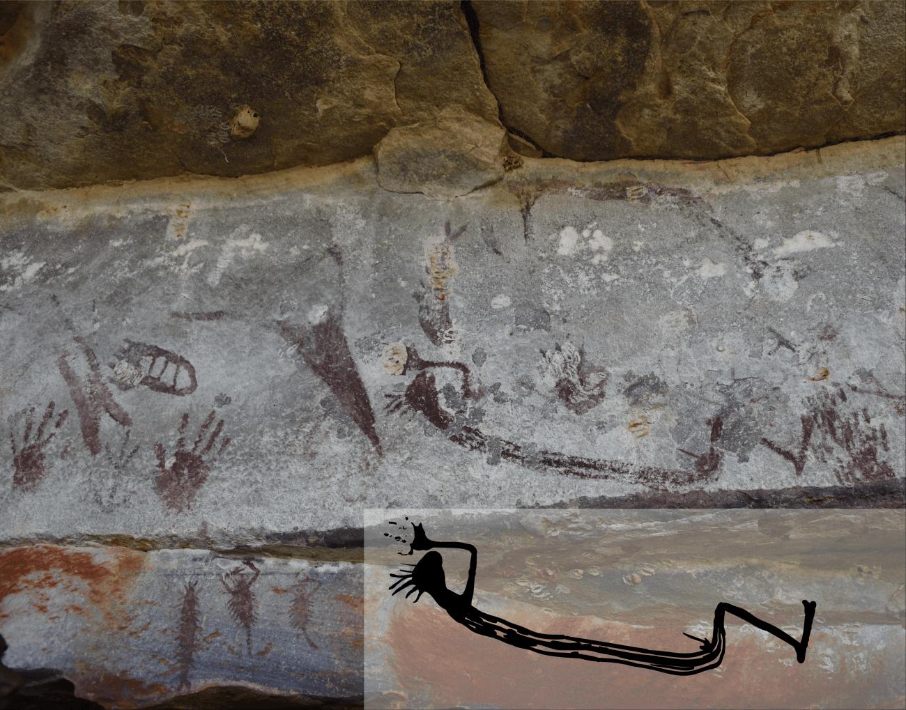 Representación de una figura humana. El nido de avispas de la parte superior izquierda ha permitido datar la pintura, que tiene más de 9.000 años. / Pauline Heaney y Damien Finch
