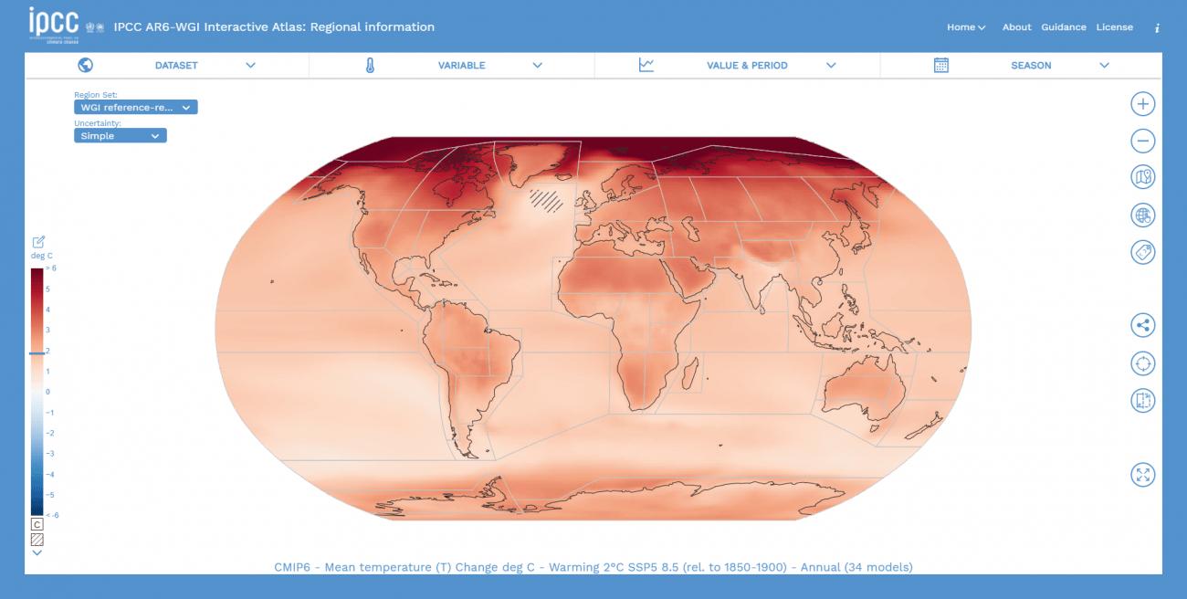 El Atlas sintetiza todos los cambios climáticos utilizando 46 regiones de tierra y 12 oceánicas. / IPCC