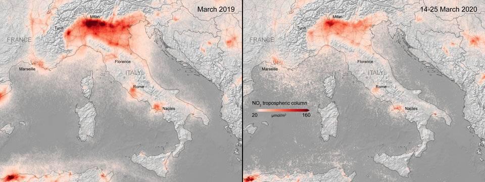 La cuarentena mundial por el Covid 19 hizo que se redujese la contaminación ambiental. Como ejemplo, varias ciudades de Europa
