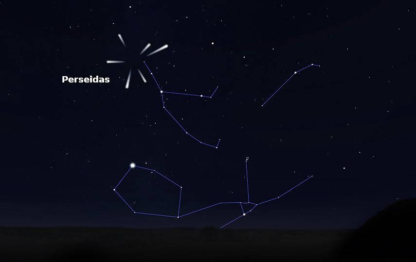 As Perseidas semellan proceder da constelación de Perseo, de aí o seu nome. Fonte: IGN.