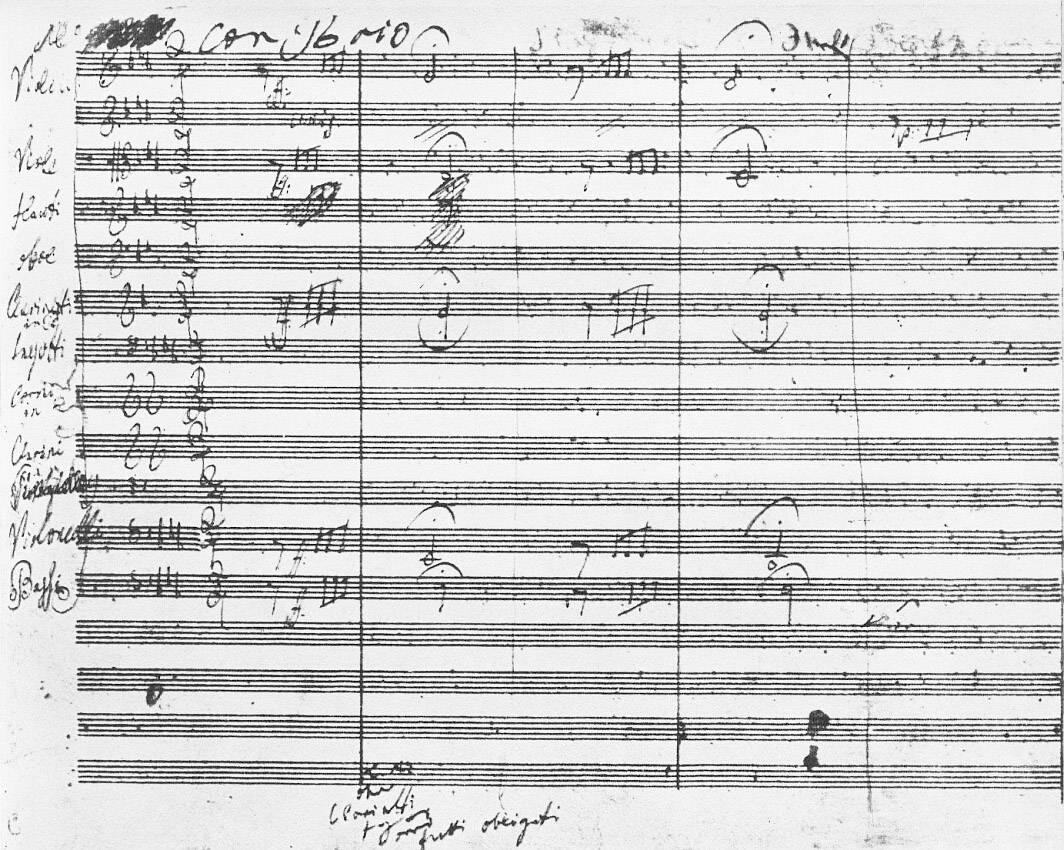 Primera página de la Quinta Sinfonía