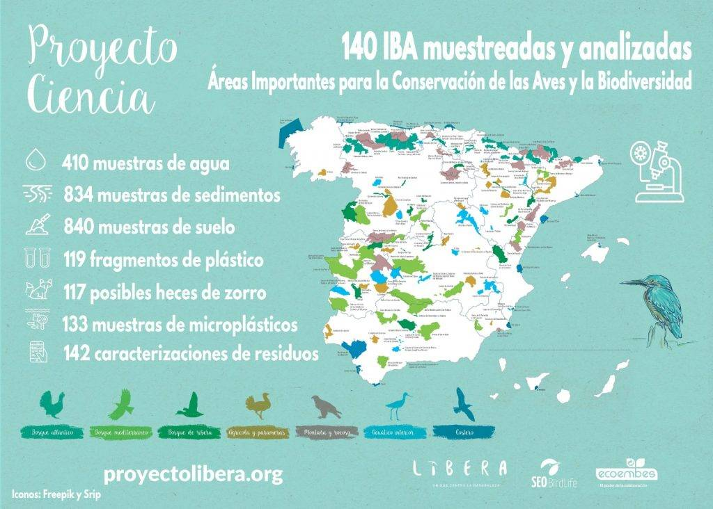 Mapa muetsras Ciencia LIBERA 1024x732 - En España mayor parte de los espacios naturales están afectados por contaminación asociada a la actividad humana ( Basuraleza )