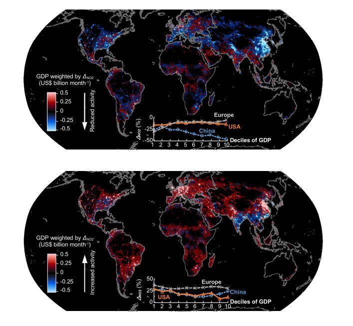 Arriba, niveles de No2 durante las primeras cuatro semanas tras el primer brote; debajo, niveles durante las últimas semanas del estudio, entre octubre y noviembre de 2020. / CSIC