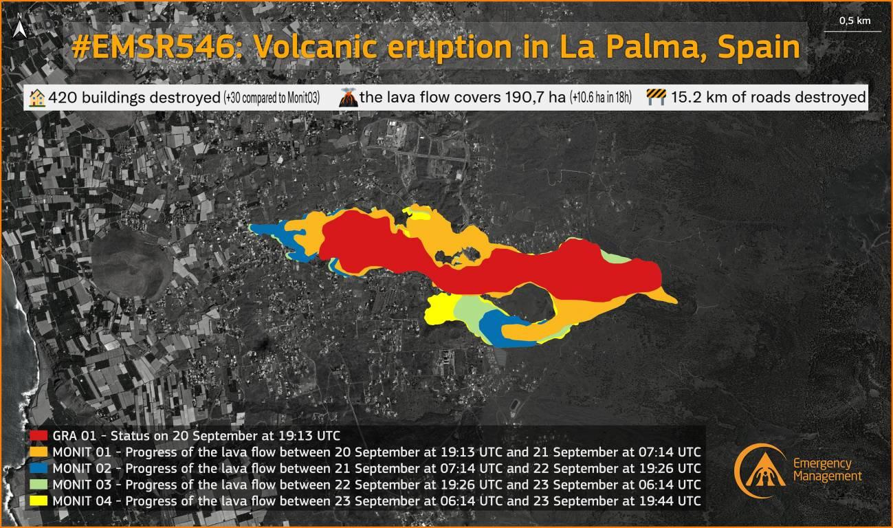 Mapa2 - Satélites Centinelas en el Espacio del Volcán de La Palma