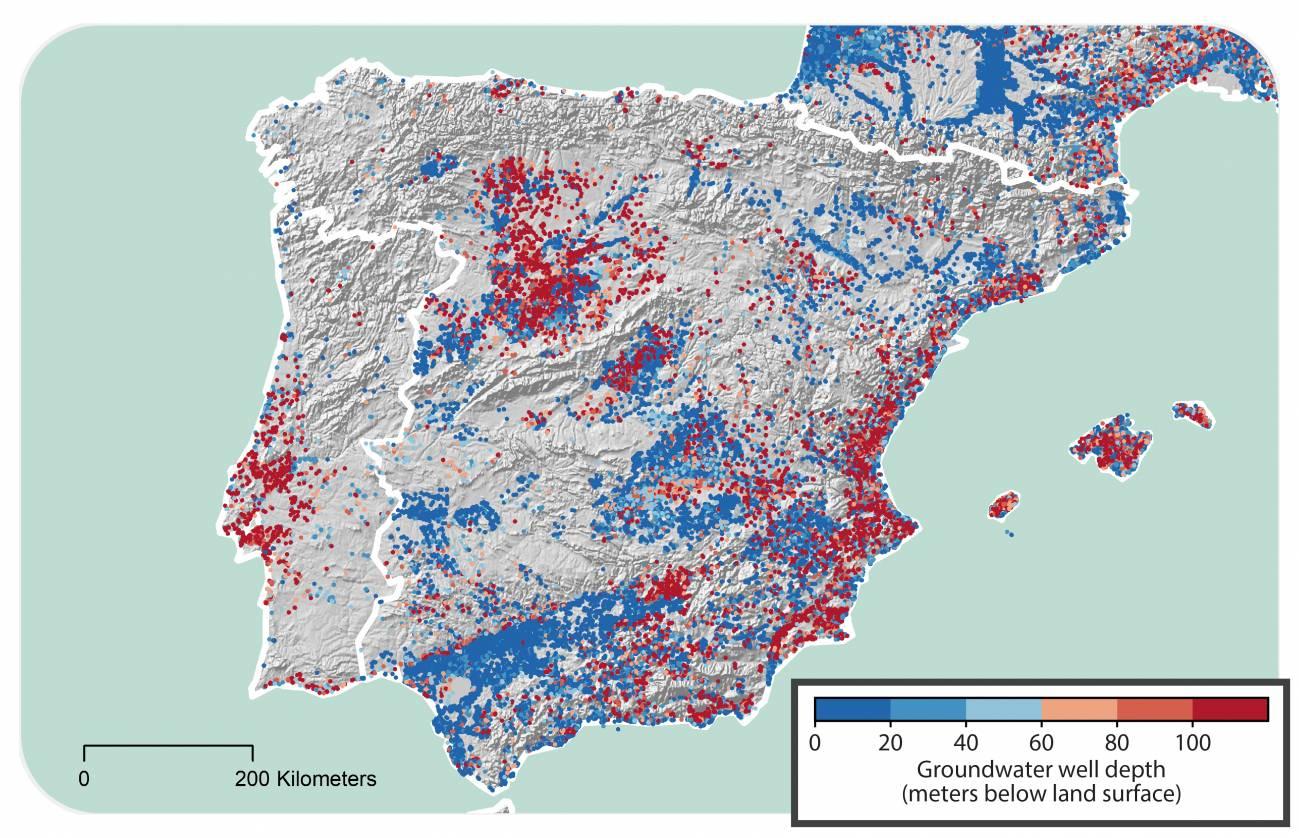 Profundidad de los pozos de agua subterránea en España / Scott Jasechko