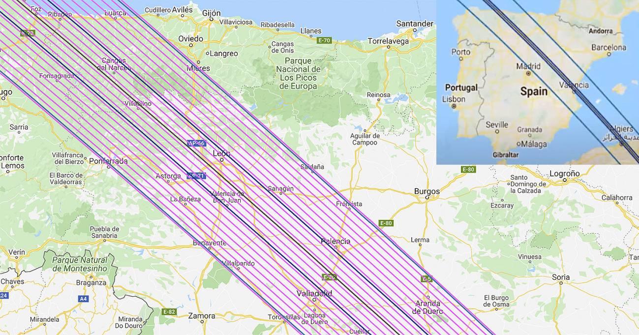 Zona de sombra del asteroide a su paso por España, con las 22 'cuerdas' (en rosa) donde se podían colocar los 22 telescopios. // Ictea