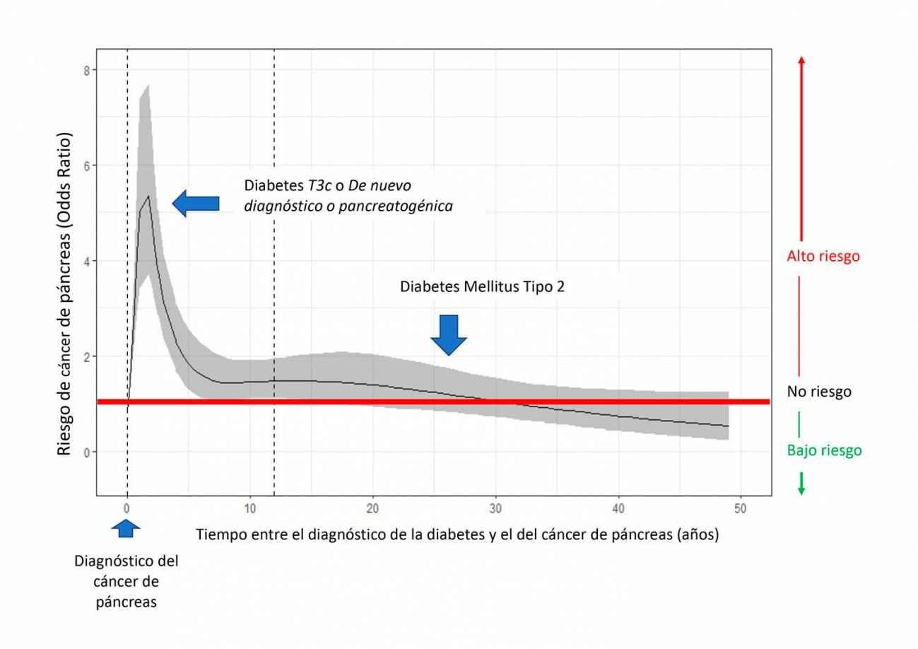 riesgo de cáncer de páncreas y tiempo transcurrido